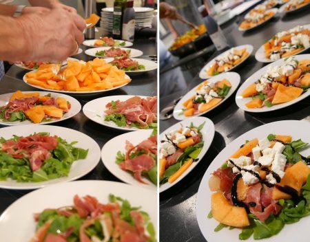 Vorspeise Ruccola-Feta-Salat mit Schinken und Melone